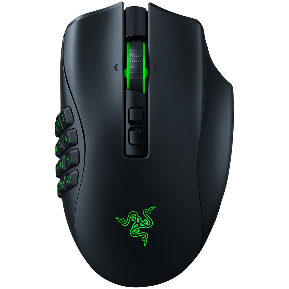 Fotografie Mouse gaming wireless Razer Naga Pro, 3 module butoane laterale, switchuri optice, 2.4GHz HyperSpeed & Bluetooth, iluminare Chroma RGB, Negru
