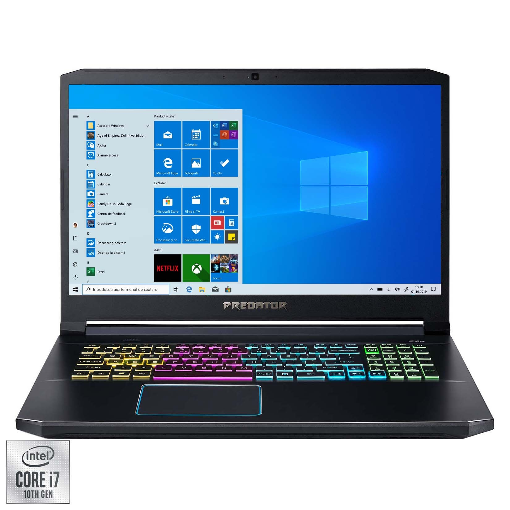 "Fotografie Laptop Gaming Acer Predator Helios 300 PH317-54 cu procesor Intel® Core™ i7-10750H pana la 5.00 GHz, 17.3"", Full HD, 120Hz, 8GB, 512GB SSD, NVIDIA® GeForce RTX™ 2060 6GB, Windows 10 Home, Black"