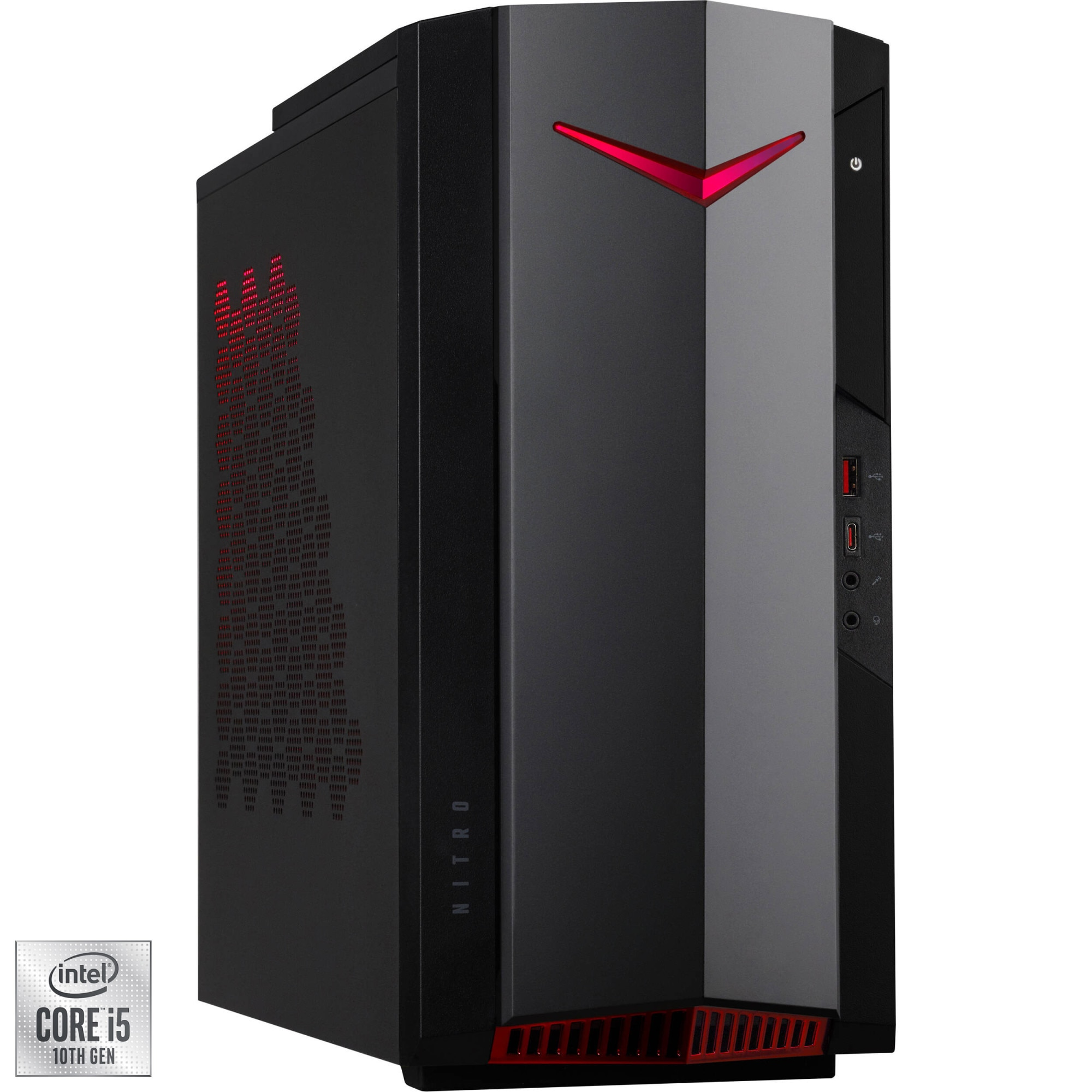 Fotografie Sistem Gaming Acer Nitro N50-610 cu procesor Intel® Core™ i5-10400F pana la 4.30 GHz, Comet Lake, 16GB DDR4, 512GB SSD, NVIDIA GeForce GTX 1660 SUPER 6GB, Endless OS
