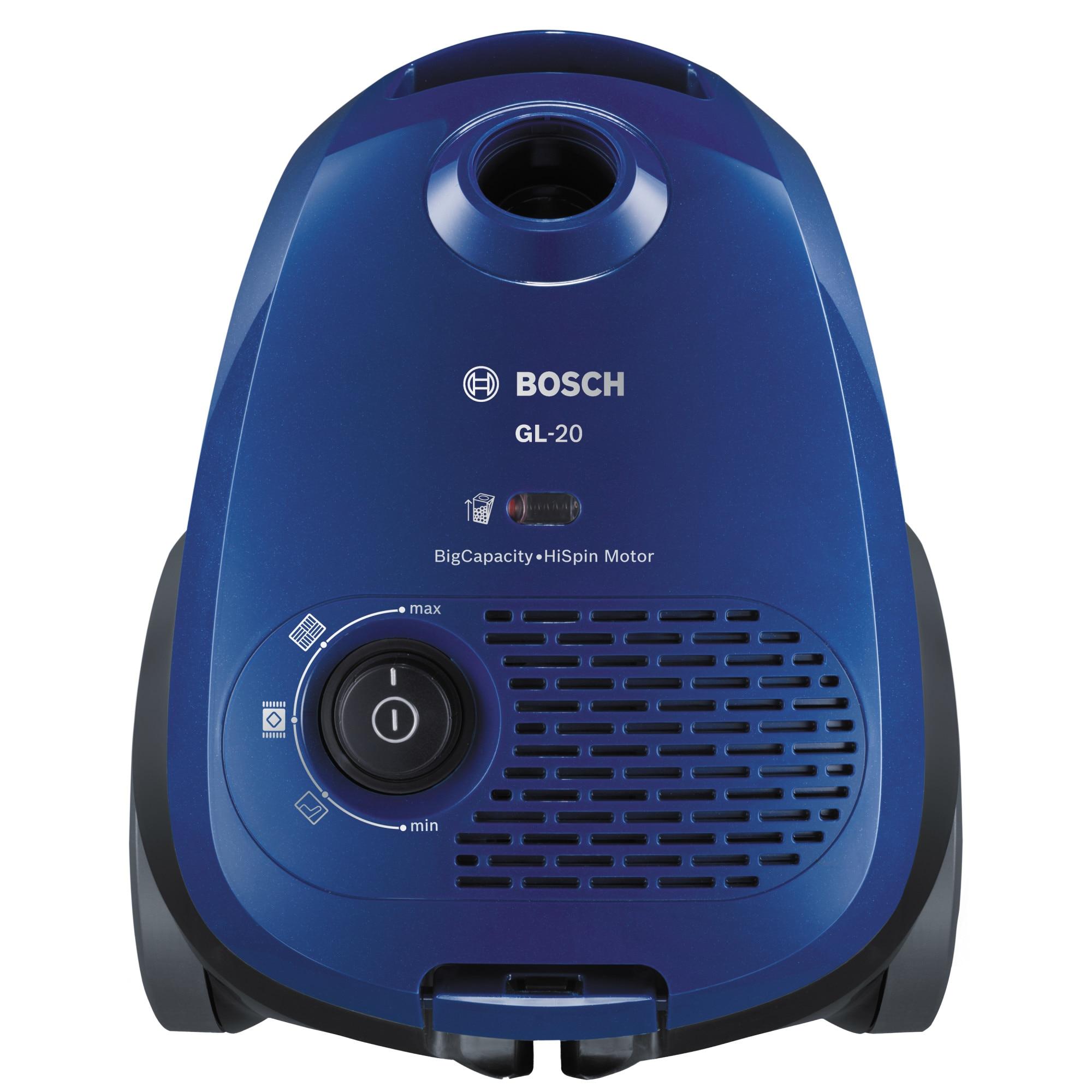 Fotografie Aspirator cu sac Bosch BGL2UA112, 600W, capacitate sac 3.5 L, Sistem Power Protect, tub telescopic din metal, Albastru