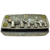 Декоративен сувенир, Бижутерка с 3 слончета, Правоъгълна, 1см/ 8см/ височина 6см