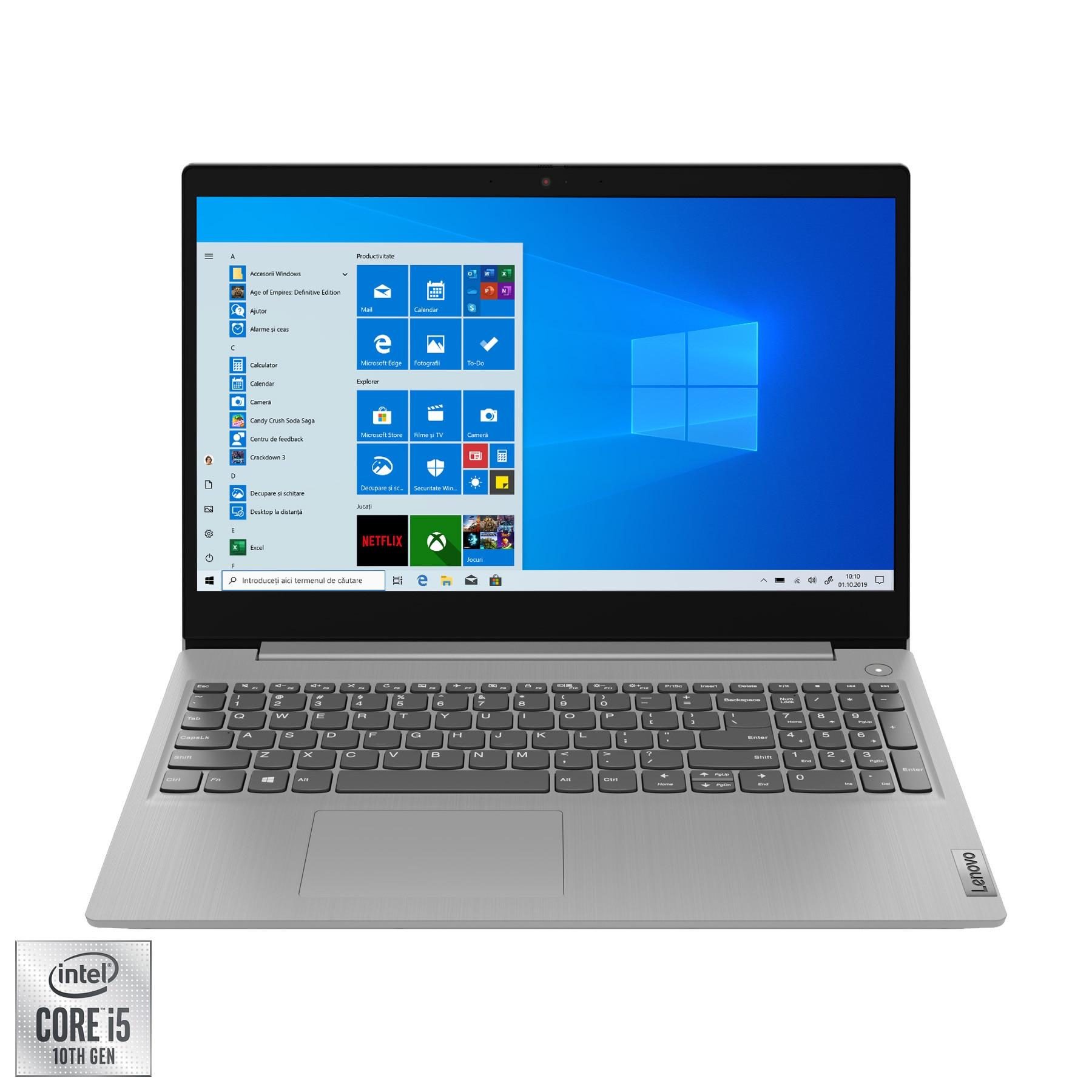 "Fotografie Laptop Lenovo IdeaPad 3 15IIL05 cu procesor Intel Core i5-1035G1 pana la 3.60 Ghz, 15.6"", Full HD, 8GB, 256GB SSD, Intel UHD Graphics, Windows 10 Home, Platinum Grey"
