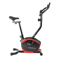 Bicicleta fitness TECHFIT B350, Sistem inertie volanta 6 Kg, Greutate utilizator 110 Kg, Suport Smartphone, Ghidon ajustabil, Negru-Rosu