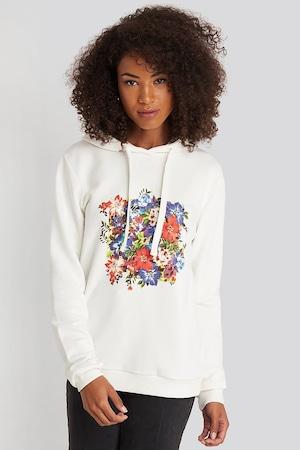NA-KD, Kapucnis pulóver virágmintával, Fehér, XS