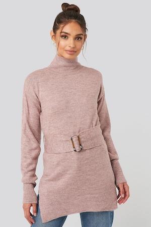 NA-KD, Finomkötött pulóver oldalhasítékkal, Púder rózsaszín, M