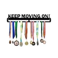 Поставка за закачане на медали JJDisplays, Метални, черен, Keep Moving On!