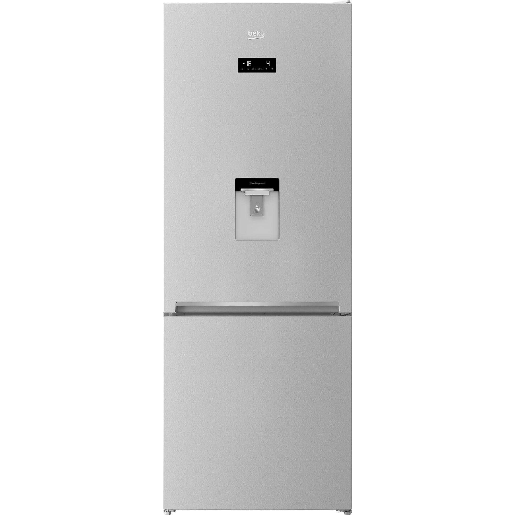 Fotografie Combina frigorifica Beko RCNE560E40DZMN, 510 l, NeoFrost Dual Cooling, HarvestFresh, EverFresh, Dozator de apa, Clasa E, H 192 cm, Gri Sidef