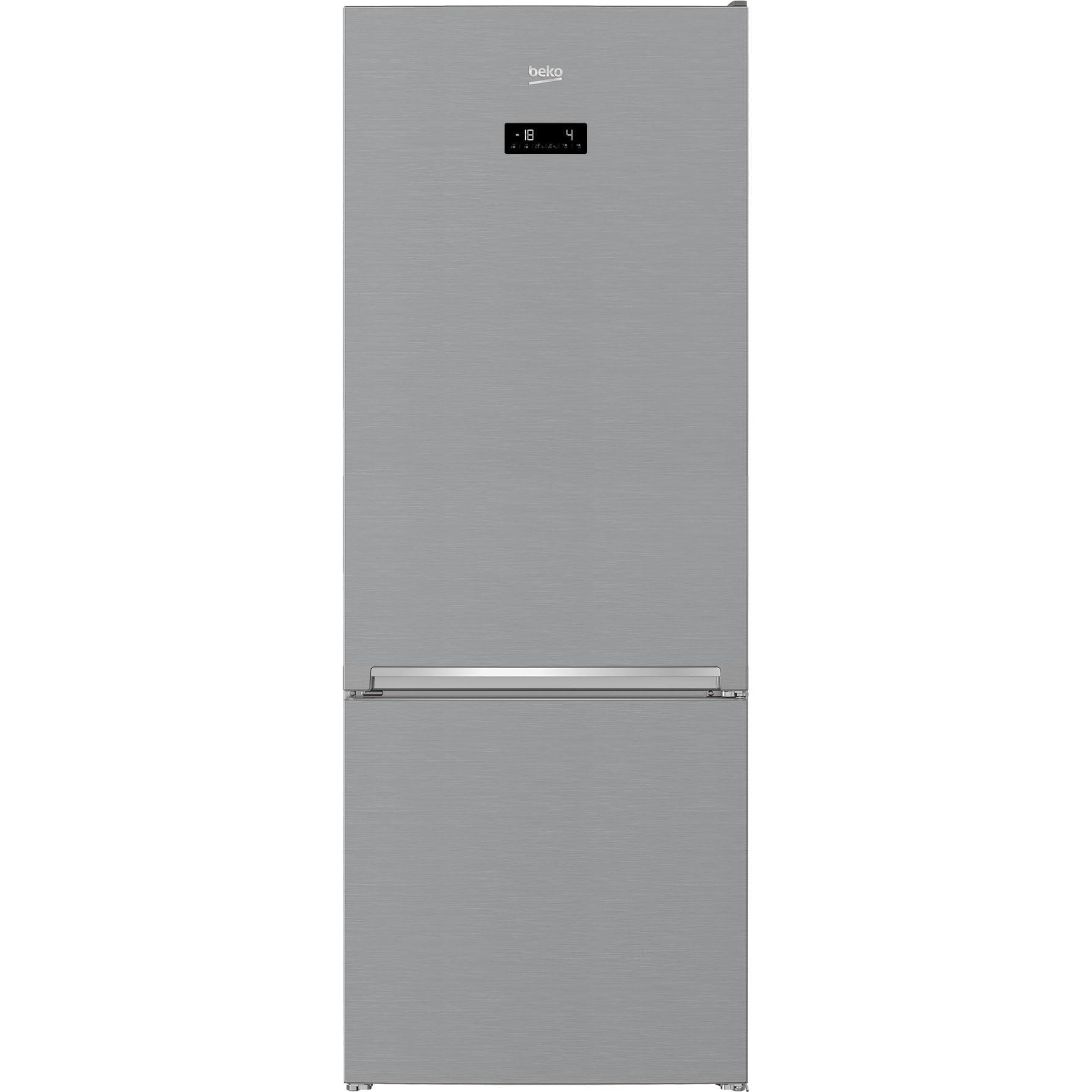 Fotografie Combina frigorifica Beko RCNE560E40ZXBN, 501 L, HarvestFresh,NeoFrost Dual Cooling, Clasa E, H 192 cm, Argintiu