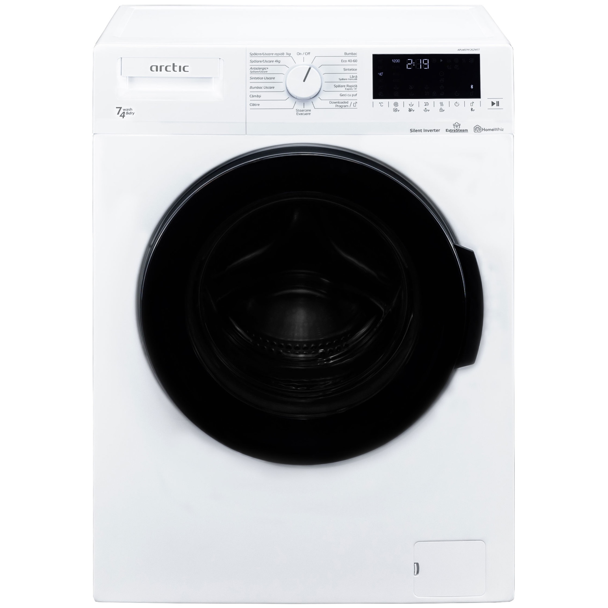 Fotografie Masina de spalat rufe cu uscator Arctic APLWD741262WST, Spalare 7 kg, Uscare 4 kg, 1200 rpm, Clasa D, Motor Silent Inverter, HomeWhiz, Conectare Bluetooth, ExtraSteam, Downloaded Program, Alb