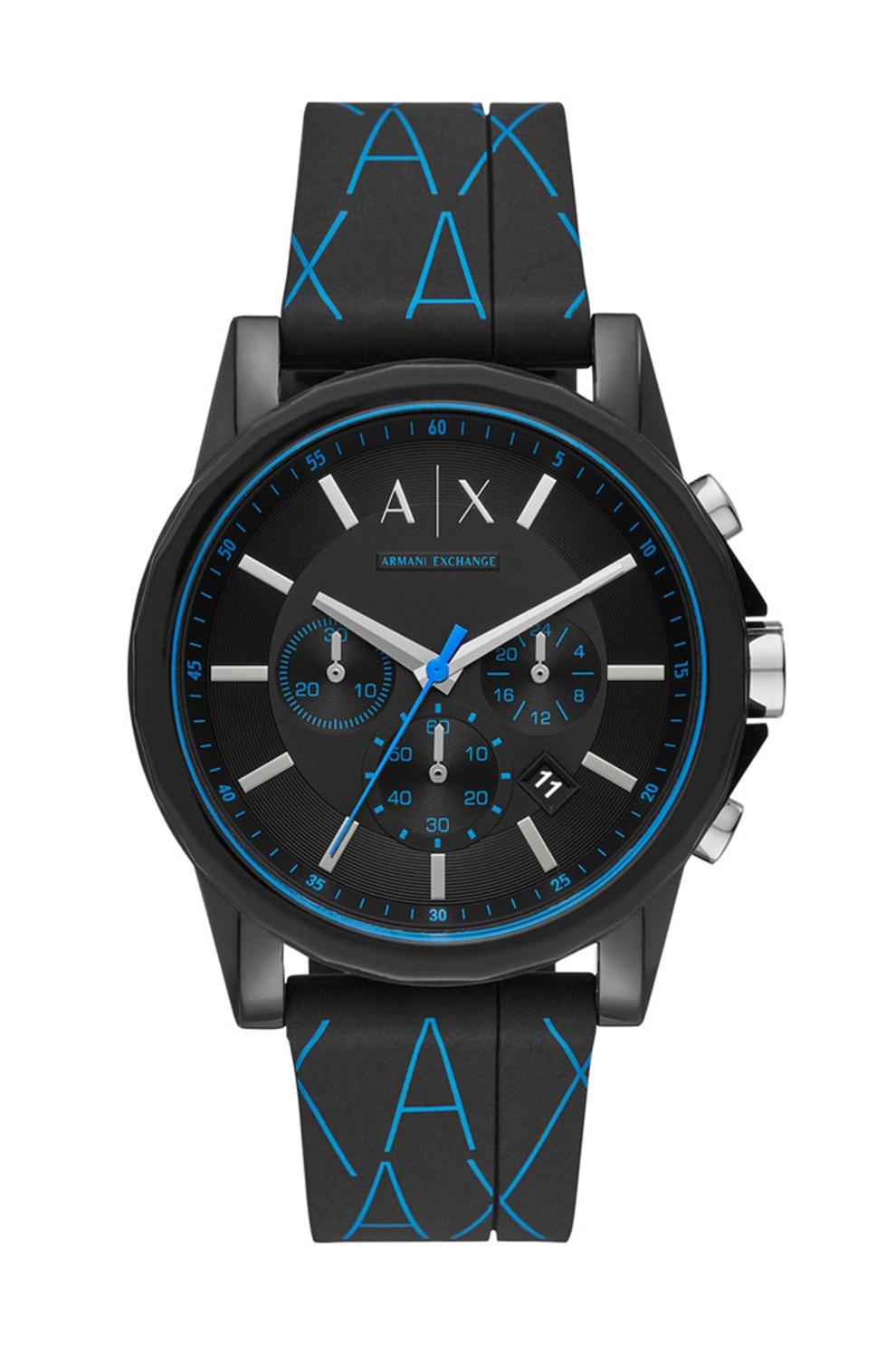 Fotografie ARMANI EXCHANGE, Ceas cronograf cu o curea din silicon, Negru/Albastru