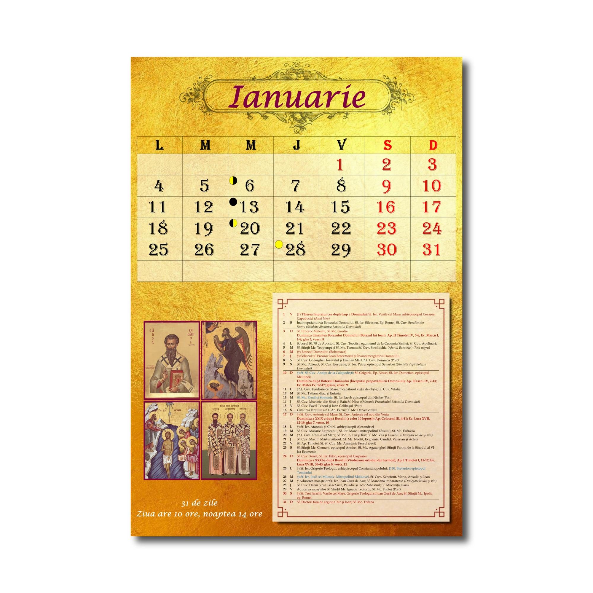 Calendar ortodox perete 2021, format A3, calendar ...
