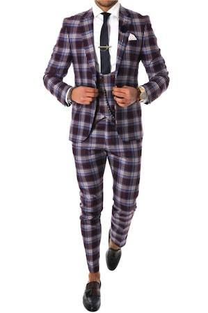 Costum pentru barbati, elegant, slim fit, vesta, pantaloni, grena, A7803