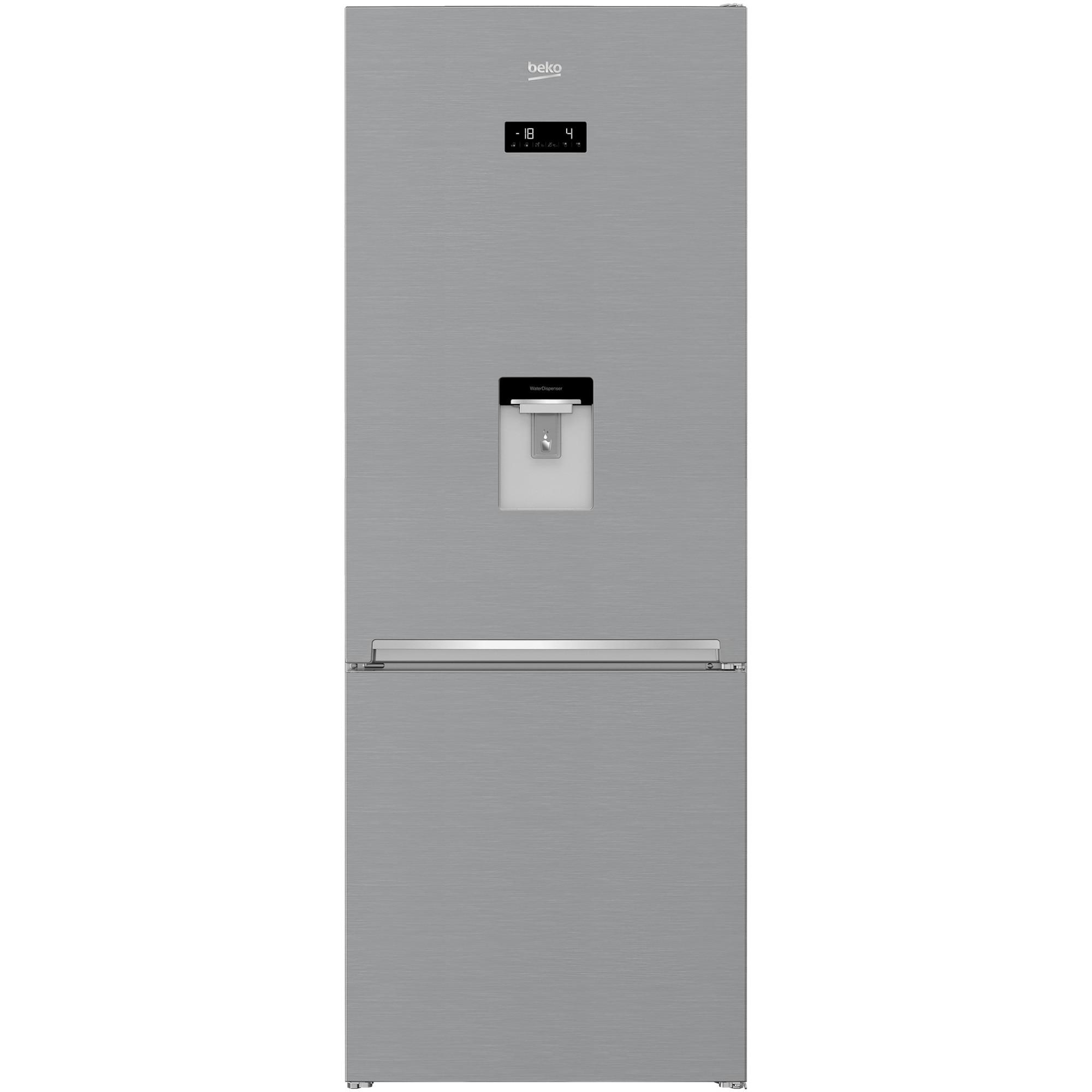 Fotografie Combina frigorifica Beko RCNE560E40DZXBN, 510 l, Clasa E, NeoFrost Dual Cooling , HarvestFresh, Everfresh+, Dozator de apa, H 192 cm, Argintiu