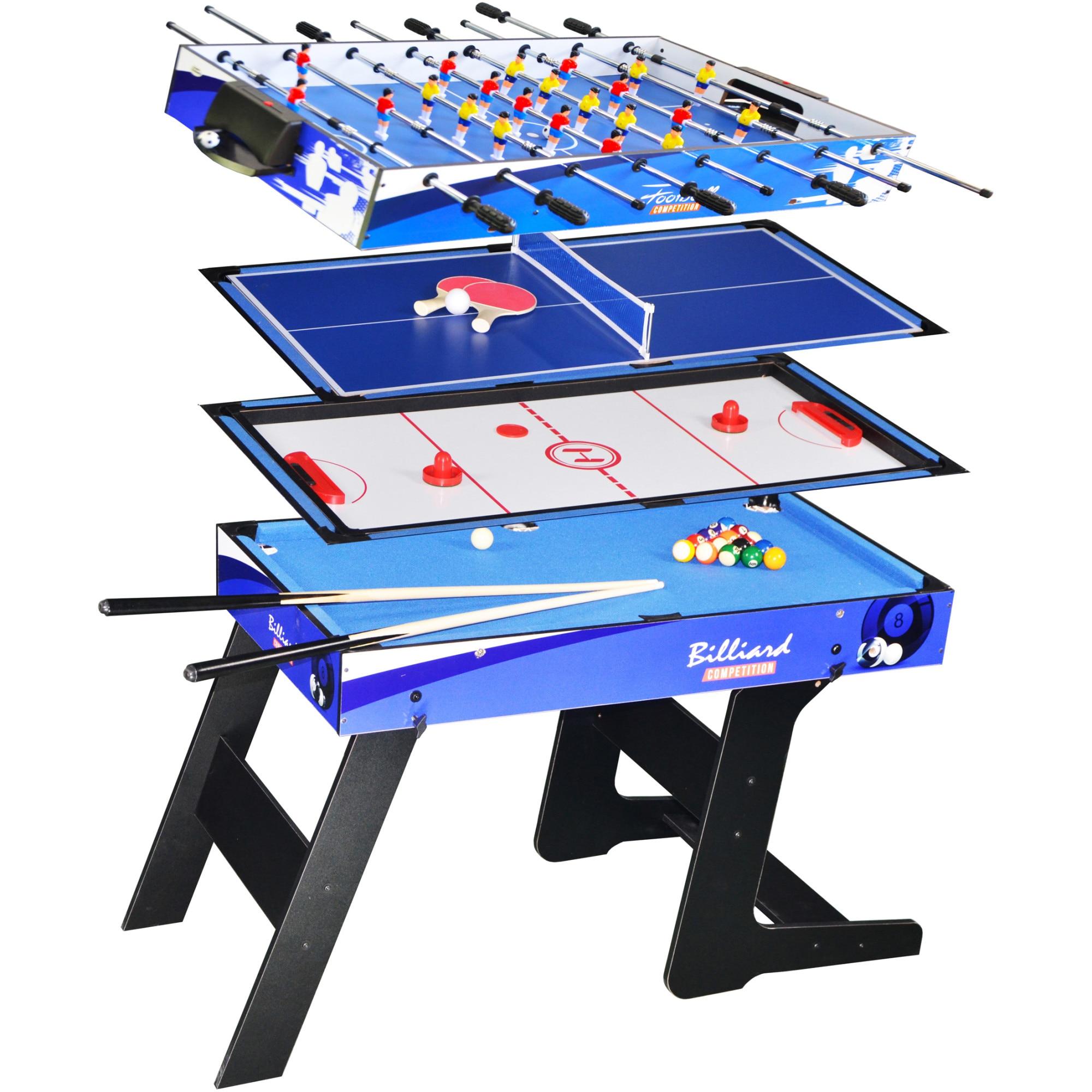 Fotografie Masa mini-jocuri 4-in-1, Billiard, Hockey, Ping-Pong, Fotbal, 124x60.5x82 cm