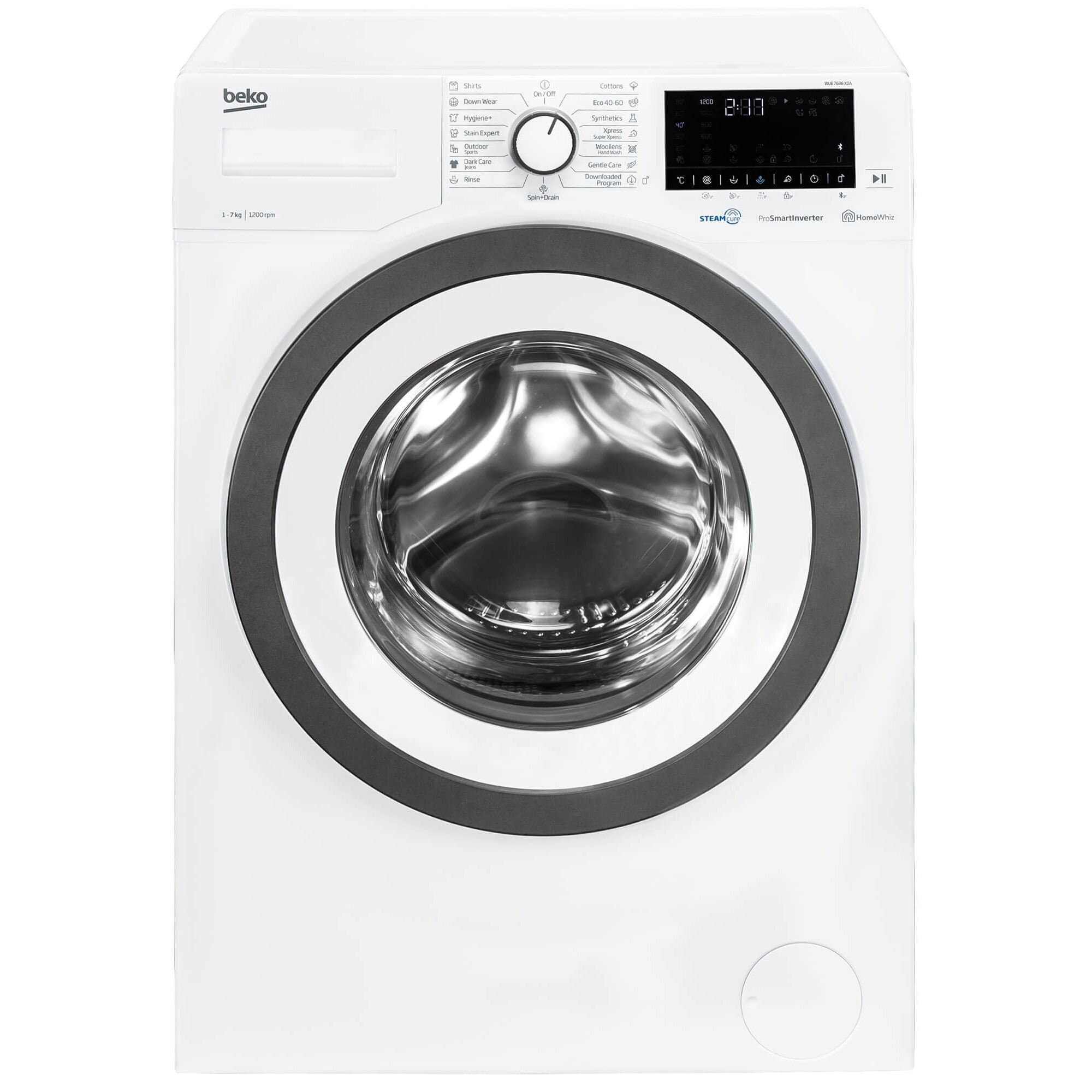 Fotografie Masina de spalat rufe slim Beko WUE7636X0A, 7 kg, 1200 rpm, Clasa D, Motor ProSmart Inverter, HomeWhiz Bluetooth, SteamCure, Hygiene, AddXtra, Alb