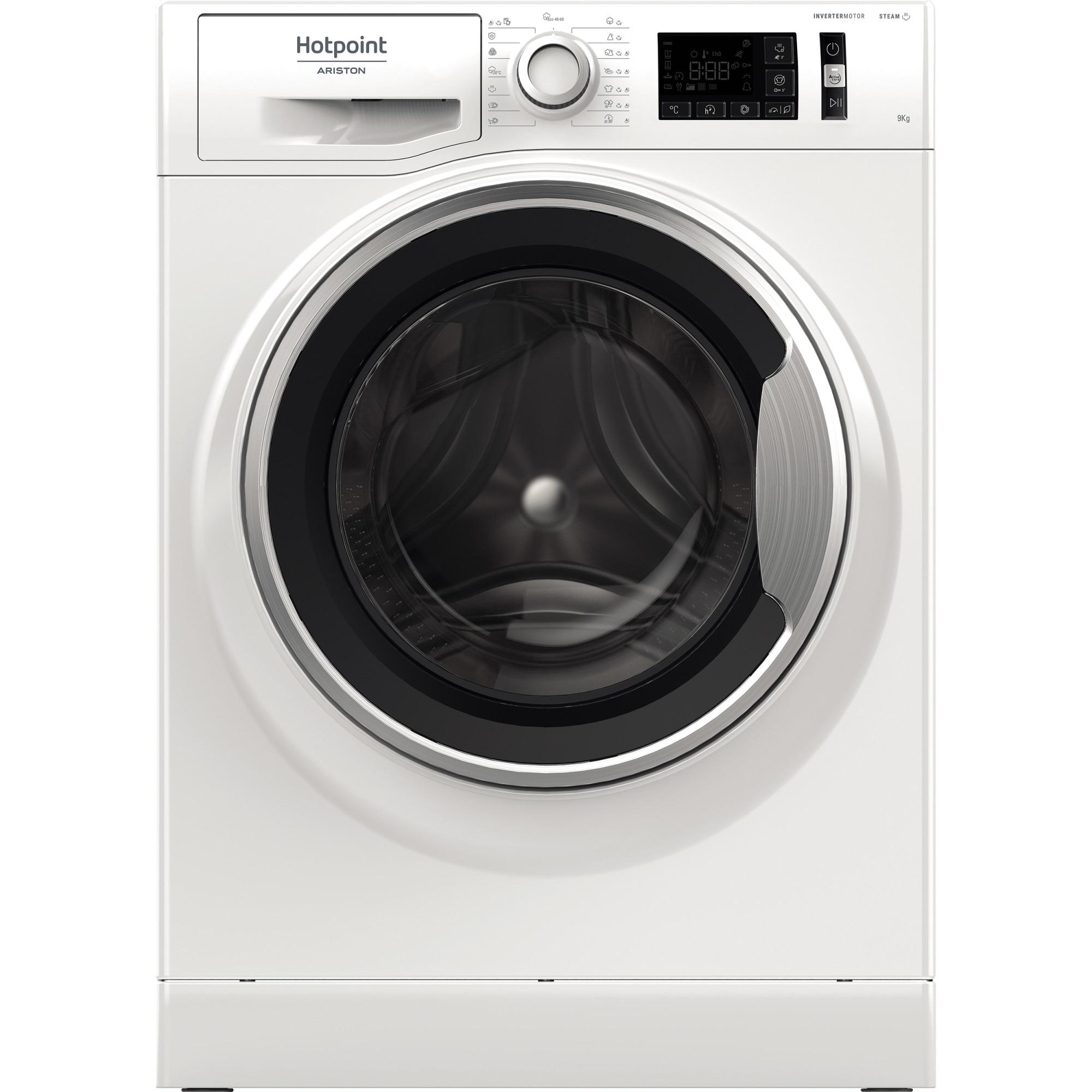 Fotografie Masina de spalat rufe Hotpoint NM11945WSAEUN, 9kg, 1400 rpm, Clasa B, Steam Refresh, Steam Hygiene, Motor Inverter, Display Digital, Alb