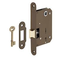 Beltéri ajtózár, süllyesztve, 43 x 72 mm, 2 hornyolt kulcs, barna - alkalmas fürdőszoba / WC vagy hálószoba ajtajára