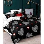 Спален комплект TM Drawn Hearts, Фин памук, 4 части