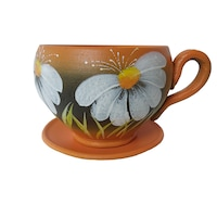 Ghiveci flori, gradina/foisor/balcon, 14 x 19 cm, ceramica, motiv floral, portocaliu