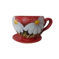Ghiveci flori, gradina/foisor/balcon, 14 x 19 cm, ceramica, motiv floral, rosu
