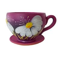 Ghiveci flori, gradina/foisor/balcon, 12 x 15 cm, ceramica, motiv floral, ticlam