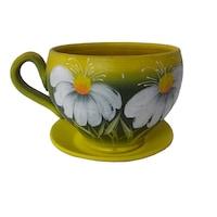 Ghiveci flori, gradina/foisor/balcon, 12 x 15 cm, ceramica, motiv floral, galben