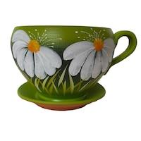 Ghiveci flori, gradina/foisor/balcon, 14 x 19 cm, ceramica, motiv floral, verde