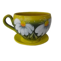 Ghiveci flori, gradina/foisor/balcon, 14 x 19 cm, ceramica, motiv floral, galben
