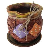 Ghiveci ceramic, cu petec pentru flori cu farfurie si orificiu pentru scurgerea apei, 14 x 14, maro