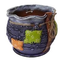 Ghiveci ceramic, cu petec pentru flori cu farfurie si orificiu pentru scurgerea apei, 14 x 14, mov
