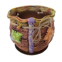 Ghiveci ceramic, cu petec pentru flori cu farfurie si orificiu pentru scurgerea apei, 21 x 25, maro