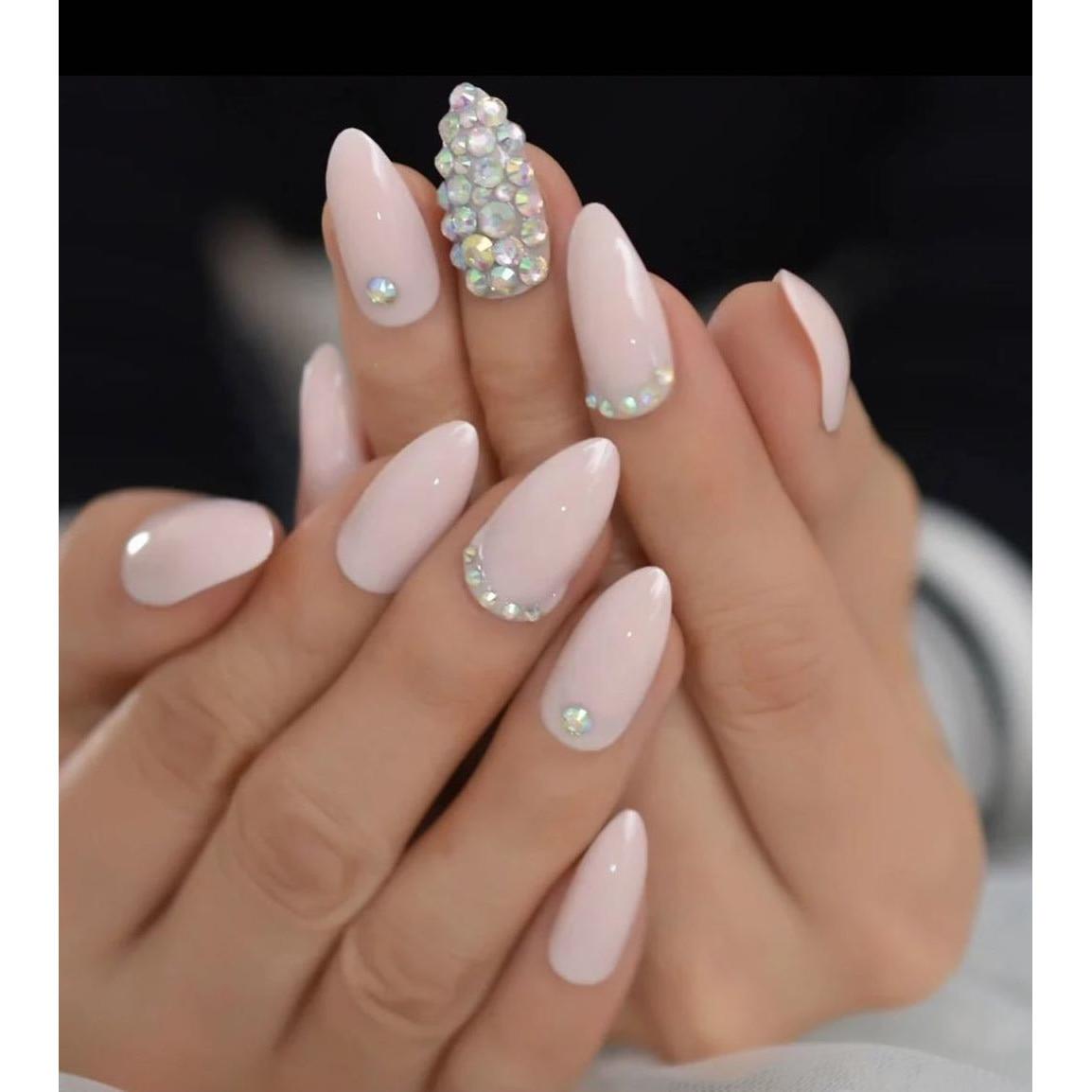 Set 24 Unghii False Autoadezive Tip Cu Adeziv Tipsuri Balerina Cu Model Glossy Roz Diamond Emag Ro