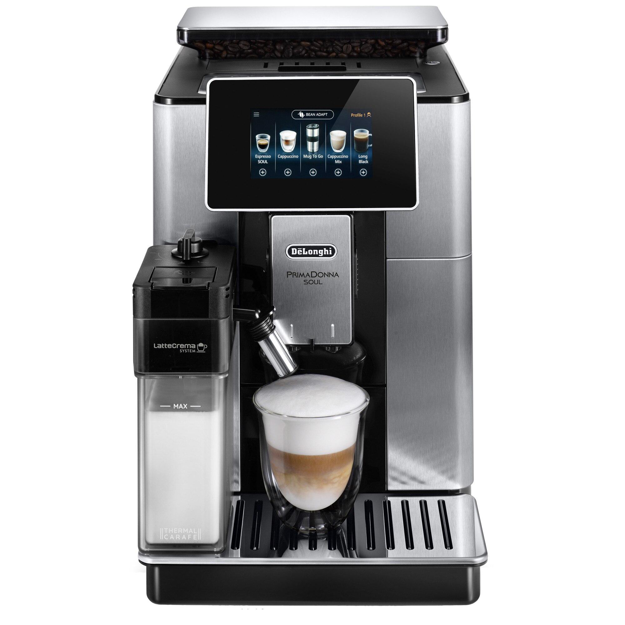 Fotografie Espressor automat De'Longhi PrimaDonna SOUL ECAM 610.74.MB, 1450W, 19 bar, 2.2 l, LatteCrema System, Argintiu Negru