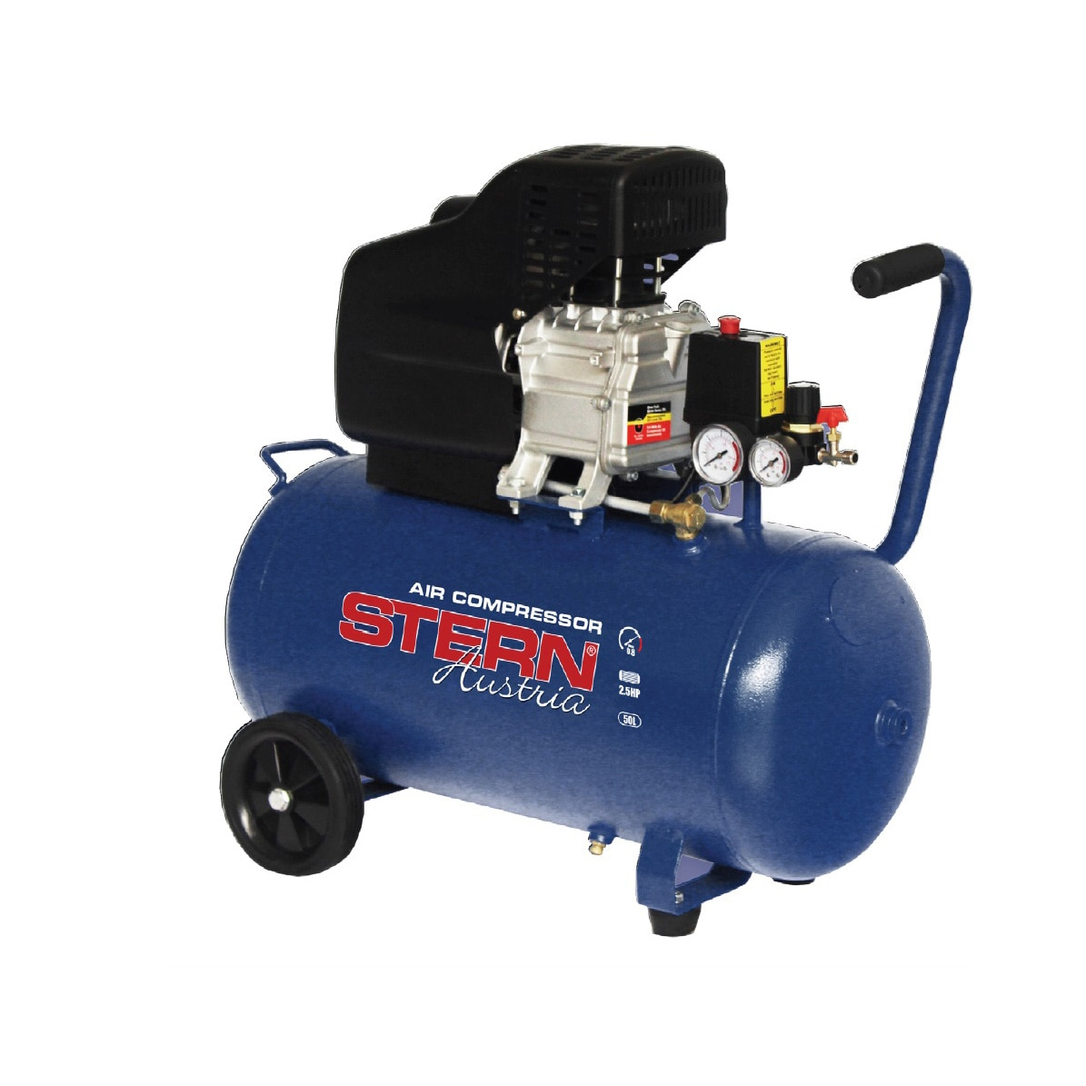 Fotografie Compresor aer STERN CO2550A, 2.5 CP, 8 bar presiune maxima, 50 l volum rezervor, 195 l/min debit aer, cilindru din fonta, regulator presiune
