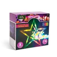Karácsonyi LED csillag fényfüzér – multicolor – 6 nagy, 6 kicsi – 3 x 1 m