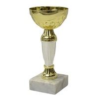 Спортна купа TRYUMF, Метална, Височина 15 см, Златист/бял