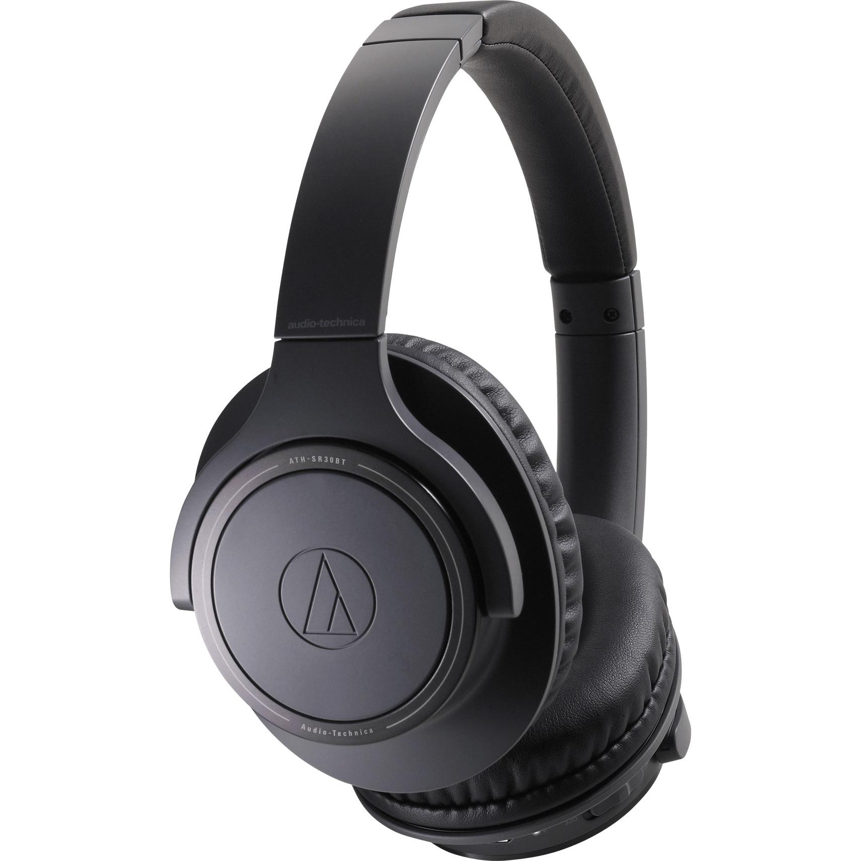 Fotografie Casti Audio Over the Ear pliabile Audio Technica ATH-SR30BT, Wireless, Bluetooth, Microfon, Autonomie 70 ore, Negru