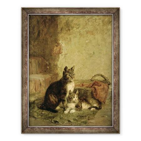 Julius Adam - Macskák, Keretezett kép, 60 x 80 cm