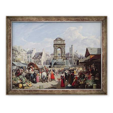 John James Chalon - Az ártatlanok piaca és kútja, Párizs, Keretezett kép, 60 x 80 cm