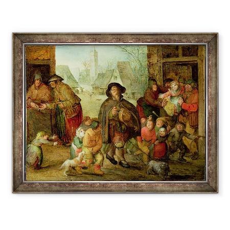 David Vinckboons - A Vak Hurdy Gurdy Játékos, Keretezett kép, 60 x 80 cm