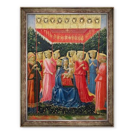 Fra Angelico - A Szűz és a gyermek angyalokkal, Keretezett kép, 60 x 80 cm