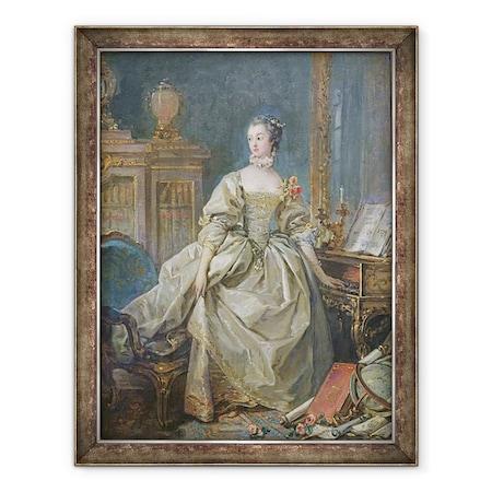 Francois Boucher - Madame de Pompadour 1721–64, Keretezett kép, 60 x 80 cm