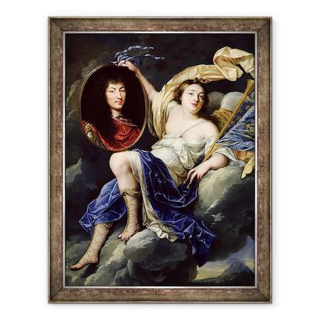 Jean Nocret - Híresség XIV Lajos 1638-1715 portréjának bemutatása Franciaországban, Keretezett kép, 60 x 80 cm