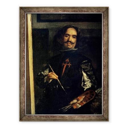 Diego Rodriguez de Silva y Velazquez - Las Meninas vagy IV. Fülöp családja, a művész részlete festőállványán, Keretezett kép, 60 x 80 cm