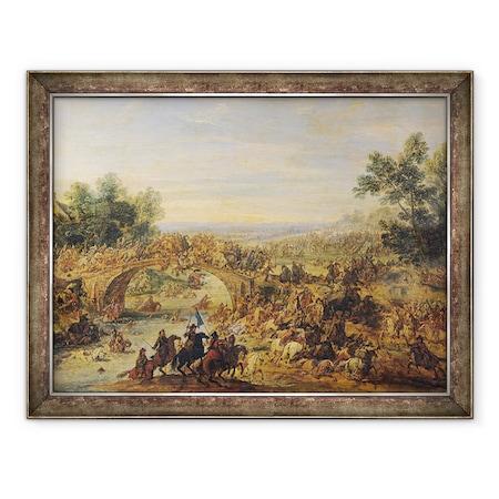 Adam Frans van der Meulen - Lovassági csata a hídon, Keretezett kép, 60 x 80 cm