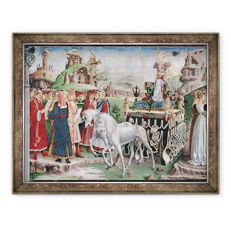 Francesco del Cossa - A Minerva diadala, Március, a hónapok szobájából a szekér és a vademberek csoportjának részlete, Keretezett kép, 60 x 80 cm