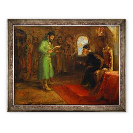 Tablou inramat - Ilya Efimovich Repin - Boris Godunov cu Ivan cel Groaznic, 70 x 90 cm