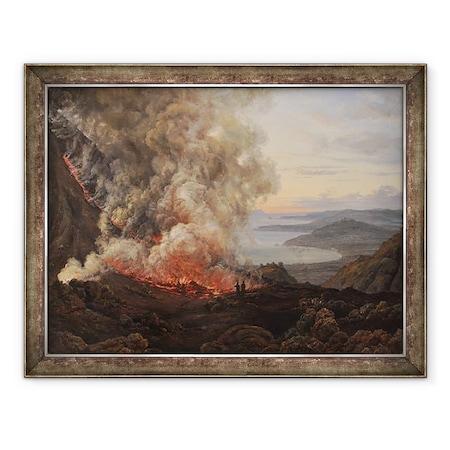 Johan Christian Dahl - A Vezúv vulkán kitörése, Keretezett kép, 60 x 80 cm