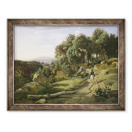 Jean Baptiste Camille Corot - Kilátás a Volterra közelében, Keretezett kép, 60 x 80 cm