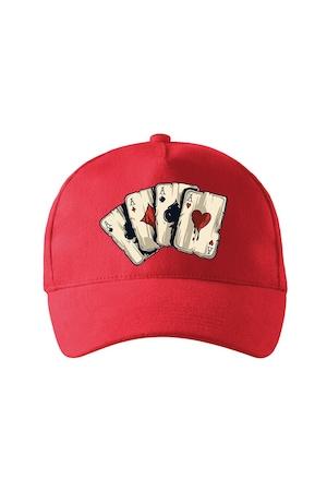 Sapca personalizata, Careu Asi Poker, Adler, Rosu, Catarama metalica reglabila